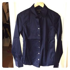 Navy blue button down shirt